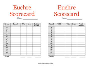24 player euchre score cards