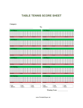 Описание this table tennis score sheet has space to report