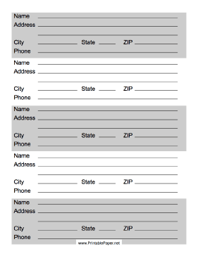 free printable contact list templates