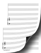 2 Systems of 3 Staves and Piano Music Paper paper