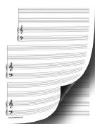 3 Systems of 2 Staves and Piano Music Paper paper